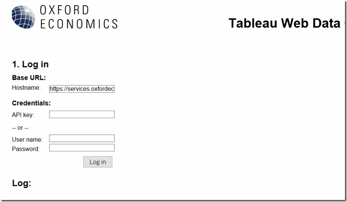 Using the Global Data Workstation API to create a Tableau web data connector